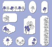 Ställ in av etiketter med irisblommor stock illustrationer