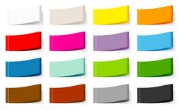 Ställ in av etikettfärg för femton textil som syr blandningen stock illustrationer