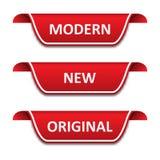Ställ in av etikettsband Modernt nytt, original- vektor illustrationer