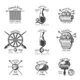 Ställ in av etikettull som sticker produkten Logo för stucken släkt plats för hantverk stock illustrationer