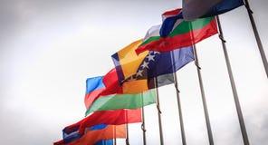 Ställ in av europeiska flaggor i vinden framme av Europarådet royaltyfri fotografi