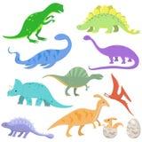 Ställ in av färgdinosaurier i tecknad filmstil Vektorillustration som isoleras p? vit bakgrund vektor illustrationer