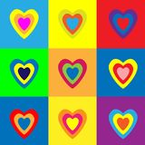 Ställ in av färgglade hjärtor på färgbakgrund också vektor för coreldrawillustration stock illustrationer