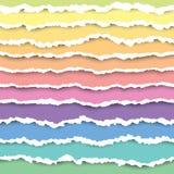 Ställ in av färgrik sönderriven pappers- bandbeståndsdel Abstrakt pappers- textur med den skadade kanten också vektor för coreldr stock illustrationer
