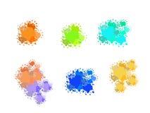 Ställ in av färgrika abstrakta vattenfärgtexturfläckar med färgstänk och stänker royaltyfri illustrationer