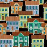 Ställ in av färgrika hus Sömlös modell för plan stilvektor stock illustrationer