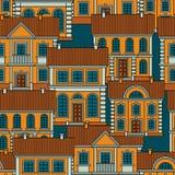 Ställ in av färgrika hus Sömlös modell för plan stilvektor royaltyfri illustrationer