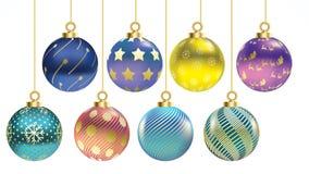 Ställ in av färgrika julbollar för vektor med prydnader samling isolerade realistiska garneringar Vektorillustration på vitbac royaltyfri illustrationer