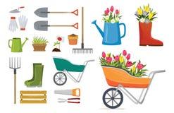 Ställ in av färgrika vårbeståndsdelar och garneringar för trädgård Uppsättning för vektorvårtecknad film vektor illustrationer