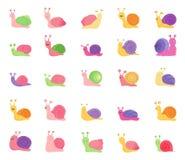 Ställ in av färgsnigelsymboler som isoleras på vit bakgrund stock illustrationer