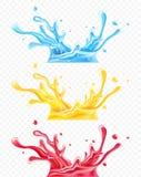 Ställ in av färgstänk vatten och fruktsafter royaltyfri illustrationer