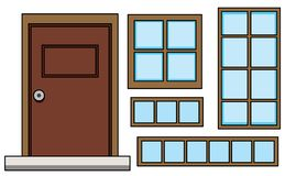 Ställ in av fönster och dörr royaltyfri illustrationer