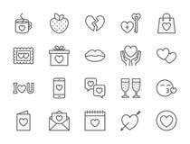 Ställ in av förälskelse- och valentindaglinjen symboler Hjärtor gåva, meddelande, kyss och mer vektor illustrationer