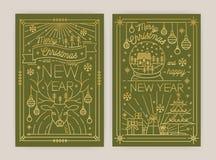 Ställ in av för den hälsningkortet eller vykortet för vertikal jul och för nytt år mallar med ferieönska och traditionellt vektor illustrationer