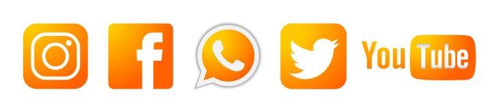 Ställ in av för den Instagram Facebook Twitter Youtube WhatsApp för populära sociala massmedialogosymboler guld- vektor beståndsd stock illustrationer