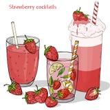 Ställ in av förnyande sommardrinkar från jordgubbar Milkshake, jordgubbe Mojito, ny drink och ny jordgubbe vektor illustrationer