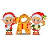 Ställ in av flicka- och pojkeSantas hjälpredor med sugrörfår som isoleras på vit bakgrund Attributen av jul och nytt stock illustrationer