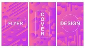 Ställ in av 3 flyer/broschyrdesigner i Memphis stil för händelser för affärsdansclubs/ stock illustrationer