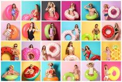 Ställ in av folk med ljusa uppblåsbara cirklar arkivfoton