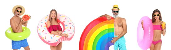 Ställ in av folk med uppblåsbara cirklar på vit royaltyfria foton
