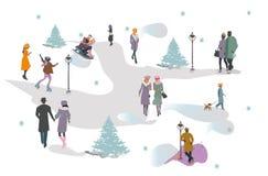 Ställ in av folk som har, vilar i parkerar i vinter Utomhus- aktiviteter för aktiv fritid royaltyfri illustrationer