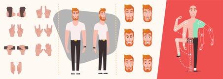 Ställ in av folkhänder, gester och symboler som isoleras stock illustrationer