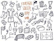 St?ll in av fotboll, sporten, fotbollsymbolsklotter Skissad hand som dras ocks? vektor f?r coreldrawillustration royaltyfri illustrationer
