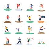 Ställ in av fotboll, syrsan, hockey, sportspelaresymboler arkivbilder