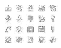 Ställ in av frisersalongen och linjen symboler för skönhetsalong Packe av symboler för PIXEL 48x48 vektor illustrationer