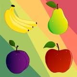 Ställ in av frukt fyra stock illustrationer
