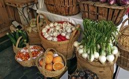 Ställ in av frukter och grönsaker synliga i Murcian handel royaltyfria bilder