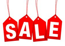 Ställ in av fyra hängande röda pilHangtags Sale stock illustrationer