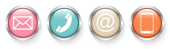 Ställ in av fyra knappar kontaktar Retro silver vektor illustrationer