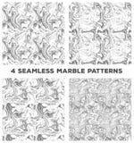 Ställ in av fyra marmorerar sömlösa modeller Ställ in av vektor marmorerar sömlösa texturer royaltyfri illustrationer