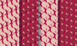 Ställ in av fyra sömlösa modeller med abstrakta beståndsdelkrusidullar, färgrik illustration Vektorbilden kan användas i en varia arkivfoto