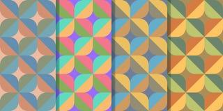 Ställ in av fyra sömlösa modeller med abstrakta diagram av den korsformiga strukturen i en stil Färgrik illustration, eps10 stock illustrationer
