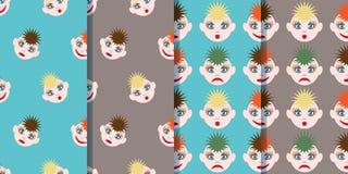 Ställ in av fyra sömlösa modeller med roliga smileys i tecknad filmstil Bilden av kulört hår av olika färger och olikt royaltyfri illustrationer