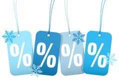 Ställ in av fyra snöflingor för vinter för HangtagsSale procent stock illustrationer
