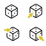 Ställ in av fyra tärning och gula pilar vektor illustrationer