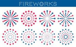 Ställ in av fyrverkerier för självständighetsdagen vektor illustrationer