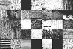 Ställ in av gamla texturer för nödläge inkludera trä, betong metall murbruk, tyg vektor illustrationer