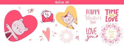 Ställ in av garnering och att märka beståndsdelar för valentindag, vektorillustrationen gullig katt, hjärtor Sömlös blom- bakgrun royaltyfri illustrationer