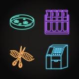 Ställ in av genom som ordnar begreppsneonsymboler stock illustrationer