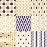Ställ in av geometriska sömlösa modeller för det färgrika mitt- århundradet för inredesign stock illustrationer