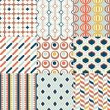 Ställ in av geometriska sömlösa modeller för det färgrika mitt- århundradet för inredesign royaltyfri illustrationer