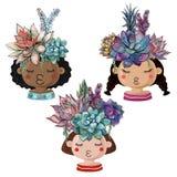 Ställ in av gladlynta krukor i form av flickor med buketter av suckulenter vektor illustrationer