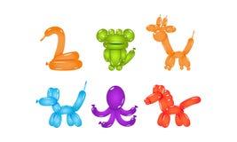 Ställ in av glansiga ballonger i form av olika djur Plana vektorbeståndsdelar för partiaffisch eller vykort vektor illustrationer