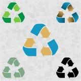 Ställ in av grön blå guling återanvänder symbolspilen för illustrationsköld för 10 eps vektor bakgrund isolerad white royaltyfri illustrationer