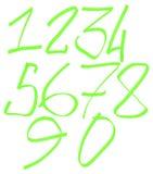 Ställ in av gröna nummer, rasterillustration royaltyfri illustrationer