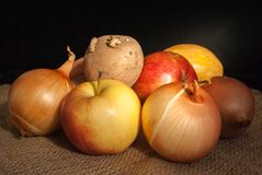 Ställ in av grönsaker och frukter på en mörk bakgrund arkivbilder